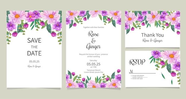 Convite de casamento com ilustração em aquarela de flor roxa