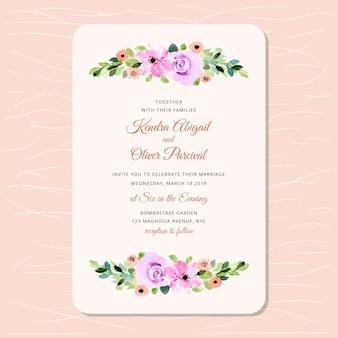 Convite de casamento com linda aquarela floral