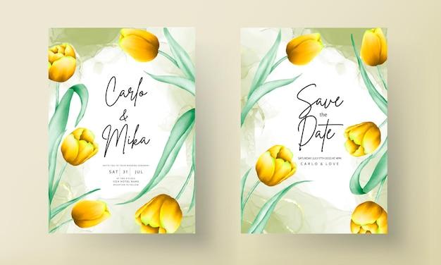Convite de casamento com linda flor amarela de tulipa em aquarela