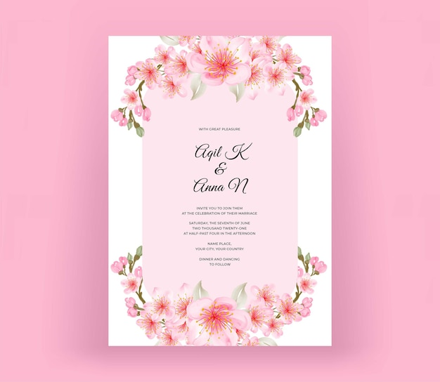 Convite de casamento com linda flor de cerejeira