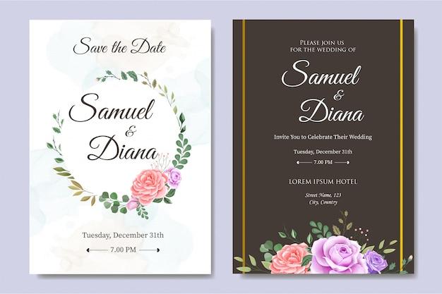 Convite de casamento com linda flor e folhas