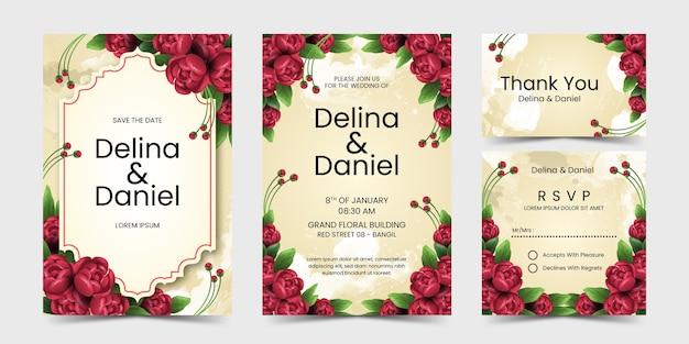 Convite de casamento com linda flor vermelha