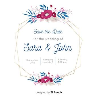Convite de casamento com linda moldura floral
