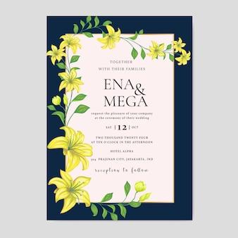 Convite de casamento com lindas flores amarelas