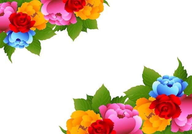Convite de casamento com lindas flores coloridas de fundo
