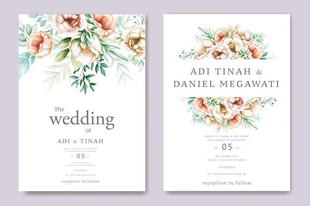 Convite de casamento com lindas flores em aquarela