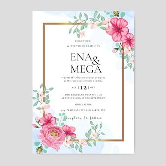 Convite de casamento com lindas flores folhas