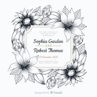 Convite de casamento com lindas flores