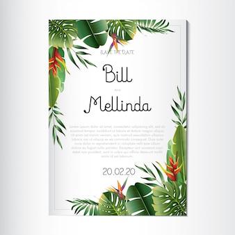 Convite de casamento com lindas folhas florais e tropicais