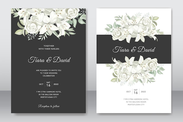Convite de casamento com lindos lírios florais