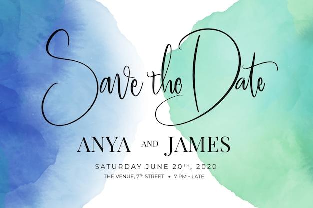Convite de casamento com manchas de aquarela de escrita caligráfica