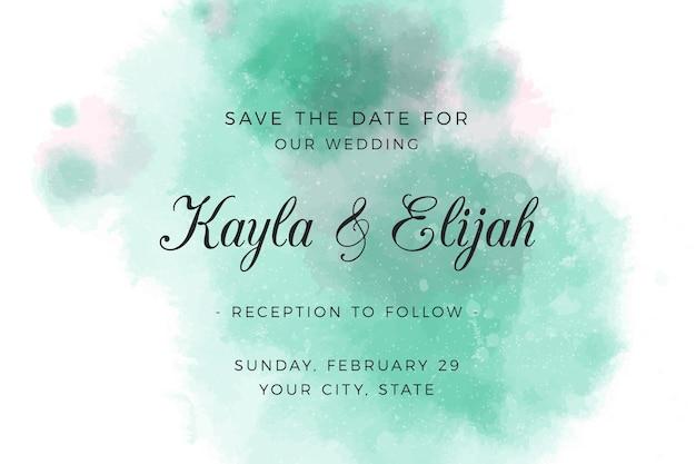 Convite de casamento com manchas verdes em aquarela gradiente