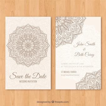 Convite de casamento com mandala desenhado à mão