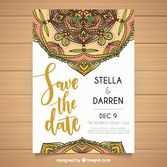 Convite de casamento com mandalas desenhados a mão