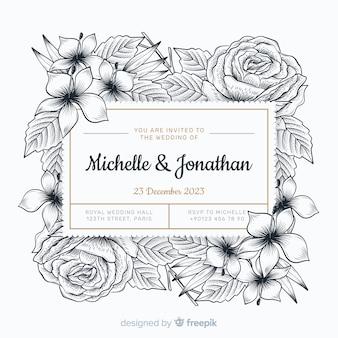 Convite de casamento com mão desenhadas flores
