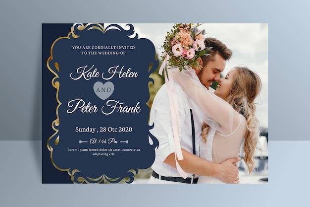 Convite de casamento com modelo de foto