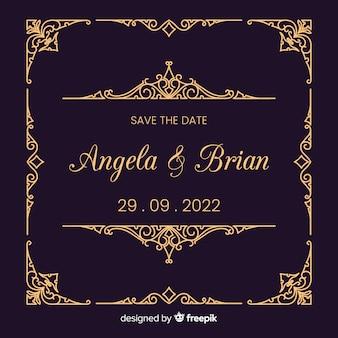 Convite de casamento com modelo ornamental