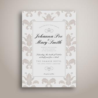 Convite de casamento com modelo simples de damasco limpo