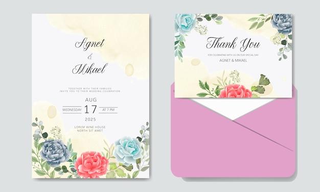 Convite de casamento com modelos de lindas flores