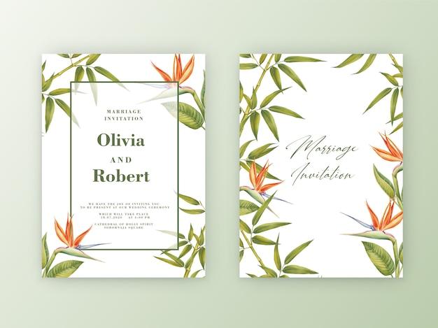 Convite de casamento com moldura de aquarela ilustração botânica de bambu.