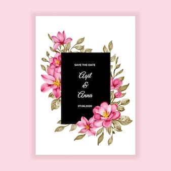 Convite de casamento com moldura de aquarela rosa e flor de beleza