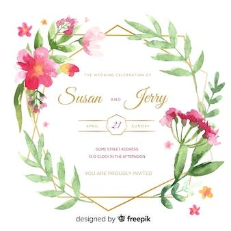 Convite de casamento com moldura de aquarela