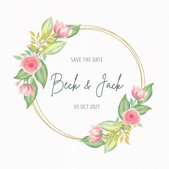 Convite de casamento com moldura de flores em aquarela