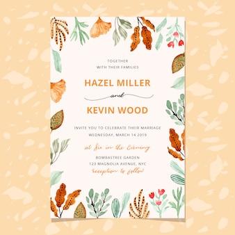 Convite de casamento com moldura de folhagem em aquarela