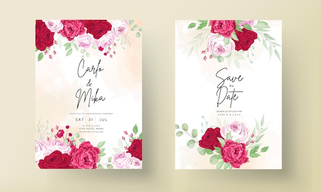Convite de casamento com moldura de peônia romântica e flor rosa vermelha
