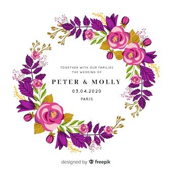 Convite de casamento com moldura de rosas