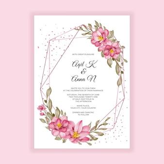 Convite de casamento com moldura em aquarela e flor geométrica dourada