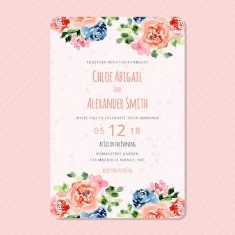 Convite de casamento com moldura floral aquarela