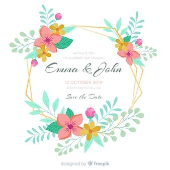 Convite de casamento com moldura floral dourada