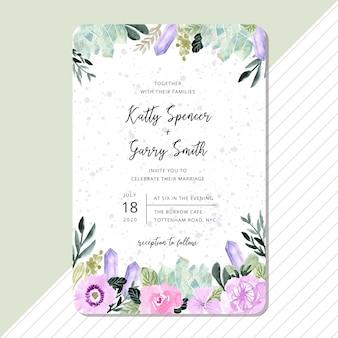 Convite de casamento com moldura floral e cristal aquarela