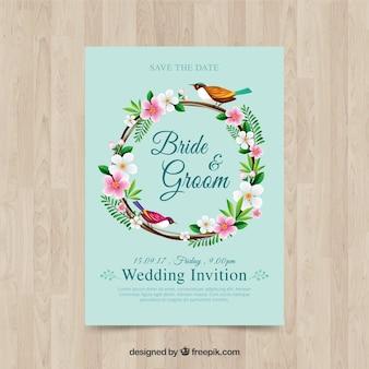 Convite de casamento com moldura floral e pássaro