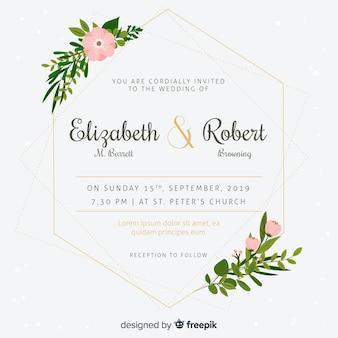 Convite de casamento com moldura floral em design plano