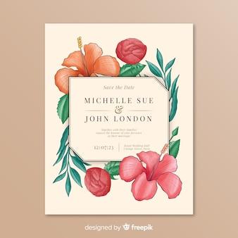 Convite de casamento com moldura floral simples