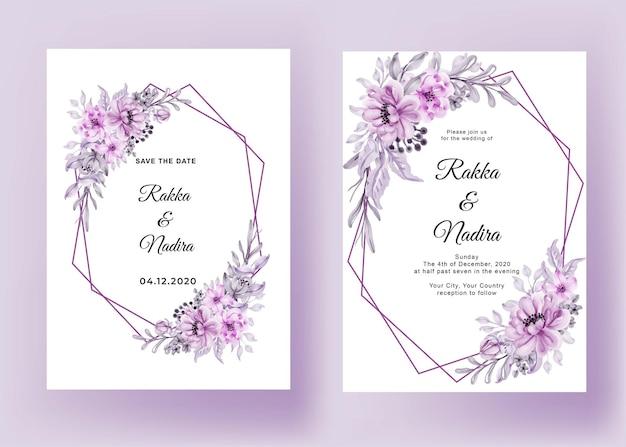 Convite de casamento com moldura geométrica flor rosa pastel romântico