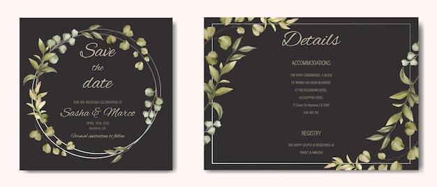 Convite de casamento com ornamento floral e moldura de prata