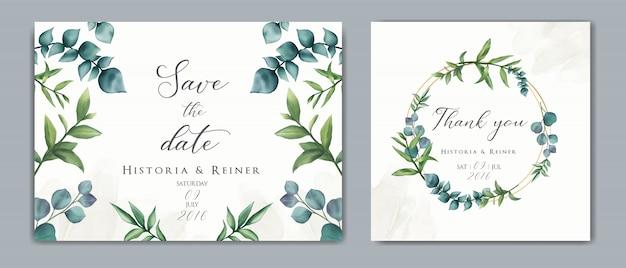 Convite de casamento com ornamento floral