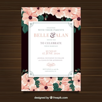 Convite de casamento com ornamentos em estilo vintage