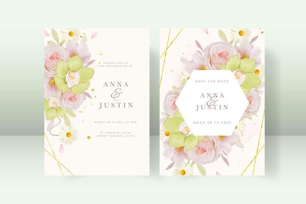 Convite de casamento com orquídea rosa e verde