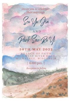 Convite de casamento com paisagem de fundo aquarela