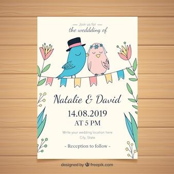 Convite de casamento com pássaros adoráveis