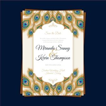 Convite de casamento com penas de pavão