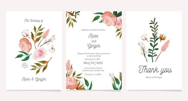 Convite de casamento com peônias e modelo de cartão de ilustração de flores de algodão