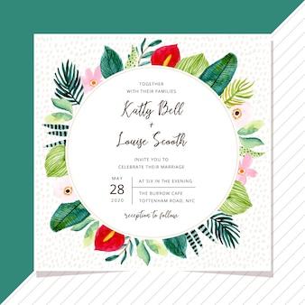 Convite de casamento com quadro de aquarela planta tropical