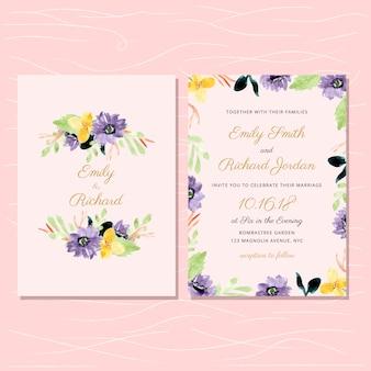 Convite de casamento com quadro floral aquarela amarelo violeta