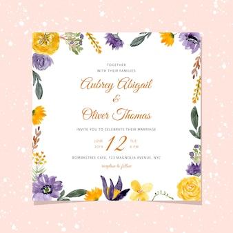 Convite de casamento com quadro floral aquarela violeta amarela