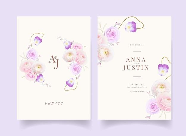 Convite de casamento com ranúnculo de rosas em aquarela e flor de amor perfeito